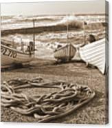 High Tide In Sennen Cove Sepia Canvas Print