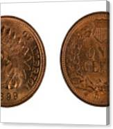 Highly Graded American Indian Head Cents On White Background  Canvas Print