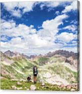 Hiker And Dog Canvas Print