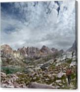 Hiker At Twin Lakes - Chicago Basin - Weminuche Wilderness - Colorado Canvas Print
