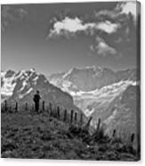 Hiker In The Alps Canvas Print
