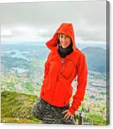 Hiker Woman In Norway Canvas Print