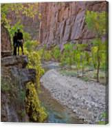 Hikers Zion National Park Canvas Print