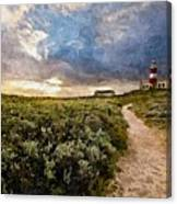Hill Road To A Lighthouse H A Canvas Print