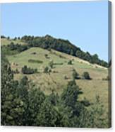 Hill With Haystack And Trees Landscape Canvas Print