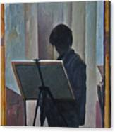 Hillary At The Easel Canvas Print