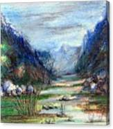 Hills Mountain And A Stream Canvas Print