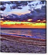 Hillsboro Beach Orange Sunset Hdr Canvas Print
