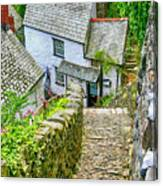 Hillside Cottages In Clovelly, Devon, Uk Canvas Print
