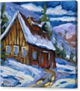 Hillsidebarn In Winter Canvas Print