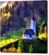 Hilltop Church In Misty Mountain Forest Canvas Print