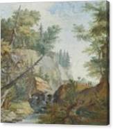 Hilly Landscape With A River And Figures In The Background Canvas Print