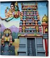 Hindu Deities On Wall Mural Of Sri Senpaga Vinayagar Tamil Temple Ceylon Rd Singapore Canvas Print