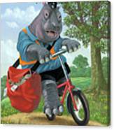 Hippo Post Man On Cycle Canvas Print