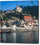 Hirschhorn Village On The Neckar Canvas Print