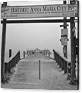 Historic Anna Maria City Pier In Fog Infrared 52 Canvas Print