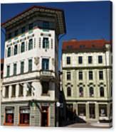Historic Art Nouveau Buildings At Preseren Square White Tiled Ha Canvas Print