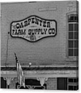 Historic Carpenter Farm Supply Sign Canvas Print