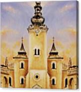 Historic Church And Town Square, Graphic Work From Painting. Canvas Print