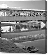 Historic Halls Mill Bridge Reflections Black And White Canvas Print