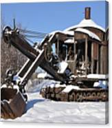 Historic Mining Steam Shovel During Alaska Winter Canvas Print