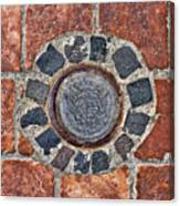 Historic Pavement Detail With Hungarian Town Seal Canvas Print