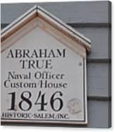 Historic Salem Naval Officer Canvas Print