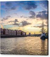 Historic Town Of Bremen With Weser River Canvas Print