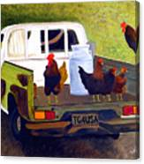 Hitchin' A Ride To Town Canvas Print