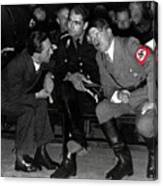Hitler Conferring With Joseph Goebbels Circa 1936 Color Added 2016 Canvas Print