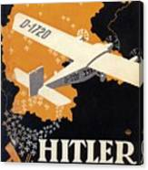 Hitler Uber Deutschland, Germany - Retro Travel Poster - Vintage Poster Canvas Print