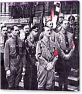 Hitler With Nazi Entourage Hess And Himmler In 2nd Row Circa 1935 Color Added 2016 Canvas Print