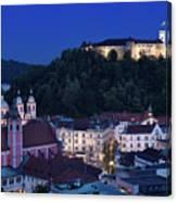 Hlltop Ljubljana Castle Overlooking The Old Town Of Ljubljana Ca Canvas Print