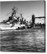 Hms Belfast And Tower Bridge 2 In Black And White Canvas Print