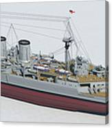 Hms Hood 1937 - Stern To Bow Tech Canvas Print