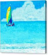 Hobie Sailing Off Lido Beach Coast Canvas Print