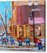 Hockey At Beautys Deli Canvas Print