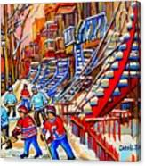 Hockey Game Near The Red Staircase Canvas Print