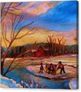 Hockey Game On Frozen Pond Canvas Print