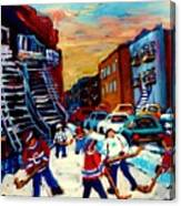 Hockey Paintings Of Montreal St Urbain Street City Scenes Canvas Print