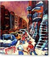 Hockey Paintings Of Montreal St Urbain Street Winterscene Canvas Print