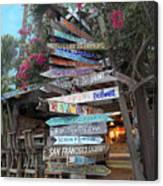 Hogfish Bar And Grill Directional Sign Canvas Print
