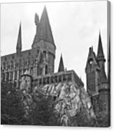 Hogwarts Castle Black And White Canvas Print