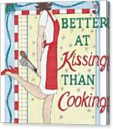 Holiday Kissing Cooking Canvas Print