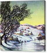 Holiday Winter Snow Scene Children Skating On Frozen Pond Canvas Print