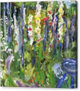 Hollyhocks, After Morisot Canvas Print