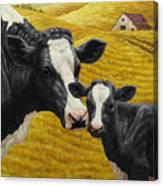 Holstein Cow And Calf Farm Canvas Print