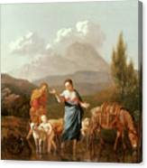 Holy Family At A Stream Canvas Print