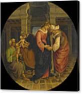 Holy Family With Saints John Elisabeth And Zacharias Canvas Print
