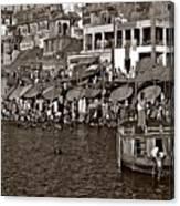 Holy Ganges Monochrome Canvas Print